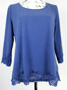 Coldwater Creek Womens Blouse Blue Size Xl Long Sleeve Relaxed Fit Casual