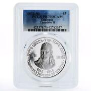 Ethiopia 5 Dollars Emperor Theodoros The Second Pr70 Pcgs Proof Silver Coin 1972