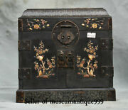 9.6 Old China Wood Inlay Shell Dynasty Flower Bird Drawer Jewelry Box Cabinet