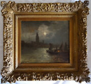 Antique Impressionist Painting Oil On Canvas Signed Ancient Work Monet