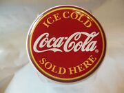 Coca Cola Sold Here Glass Cookie Jar Canister Red Lid Larger Jar