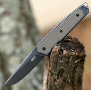 Crkt 7091 Cinco Flipper Knife Stainless And G-10 Handle 3 D2 Tool Steel Blade