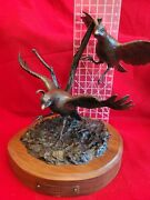 Carl Wagner Bronze Quail Sculpture 10 Of 50 1985 Title Two Of A Kind