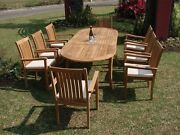 Cahy 11-pc Outdoor Teak Dining 94 Oval Extension Table 10 Stacking Arm Chairs