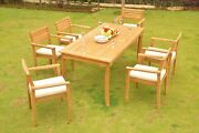 Mont 7-pc Outdoor Teak Dining Patio 83 Rectangle Table, 6 Stacking Arm Chairs