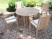 Cahy 5-pc Outdoor Teak Dining 48andrdquo Butterfly Round Table 4 Stacking Arm Chairs