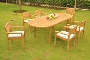 Mont 7-pc Outdoor Teak Dining 94 Oval Extension Table, 6 Stacking Arm Chairs