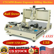 Usb Port 4 Axis Cnc Router Engraver 6090 Wood Carving Milling Machine 2.2kw Usa