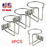 4pcs Stainless Steel Cup Drink Holder Ring Polished Holders Boat Marine Yacht Us