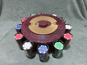 Vintage Bakelite Poker Chip Caddy Rack Turnit Swirl Marble And Desert Palace Chips