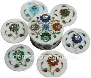 Marble Coffee Mug Holder Coaster Set Turquoise Floral Inlay Art Gift For Her Mom
