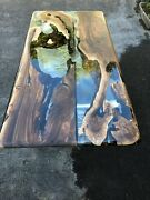 Clear Resin River Wooden Acacia Dining Custom Table Top Handmade Furniture Decor