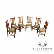 Stickley Mission Collection Set 6 Cherry Spindle Dining Chairs