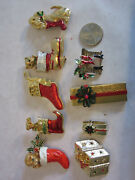Estate Collection Lot 9pc Vintage Christmas Stockings Rhinestone Pins Brooch's