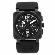 Bell And Ross Aviation Steel Chronograph Black Dial Rubber Band Mens Watch Br03-94