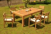 Montana Grade-a Teak 7pc Dining Canberra Rectangle Table Stacking Arm Chair Set