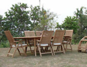 Marley A-grade Teak 7pc Dining 94 Oval Table 6 Reclining Folding Arm Chair Set