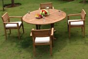 Montana A-grade Teak Wood 5pc Dining 60 Round Table 4 Stacking Arm Chair Set Nw