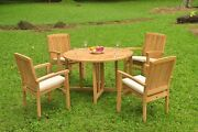 A-grade Teak 5pc Dining 48 Round Butterfly Table 4 Wave Stacking Arm Chair Set