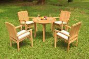 A-grade Teak 5pc Dining 36 Round Table 4 Wave Stacking Arm Chair Set Outdoor