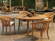 A-grade Teak 5pc Dining 52 Round Table 4 Lenong Arm Chair Set Outdoor Patio