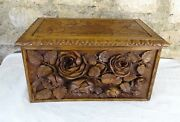 Antique French Xl Hand Wood Carving Black Forest Sewing Trinket Box-roses Flower