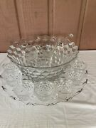 Last Call Fostoria American Large Punch Bowl-large Tray-12 Cups Euc