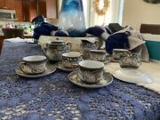 Victora China Raised Dragon Hand Painted Vintage Saucer/teacup Sets W/access.
