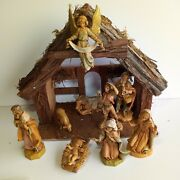 Vintage Lot Of 9 Nativity Fontanini Depose Italy Figures With Stable