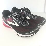 Brooks Ghost 10 Black/pink Women's Running Shoes Size 9d Wide No Insoles