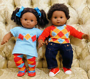 2013 American Girl African American Bitty Baby Twins Boyandgirl/argyle Outfits