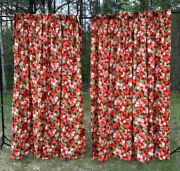 Vintage 60s 70s Linen Barkcloth Pinch Pleat Drapes Curtain Red Orange Green Pink