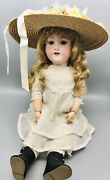 """Antique Armand Marseille 390n A8m Bisque Doll Made Germany 22"""" Kemper Wig/stand"""