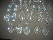 Mixed Lot Of 35 Pcs Crystal Glass Prisms Large And Small