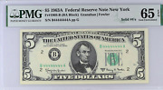 Solid 4's 1963 A 5 Federal Reserve Note Solid Serial Number 44444444 Fr 1968-b