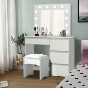 Vanity Set With Led Lighted Mirror And Drawers Makeup Dressing Table Dresser Desk