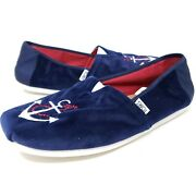 Toms Menand039s Slippers Sz 9.5 Nautical Anchor Navy Blue Slip On Comfort Shoes