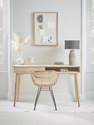 Cox And Cox Living Room Modern Chevron Blonde Solid Oak One Drawer Desk - Rrp Andpound650