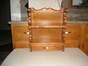 Vintage Wood Wall Spice / Knick Knack Display Hanging Shelf With Drawer
