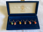 Faberge Set Of 6 Enamel Egg And Crystal Wine Glass Charms In Velvet Box. Bea