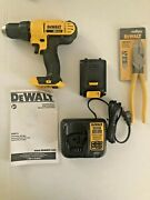 New Dewalt Cordless Drill Driver Dcd771 W Battery, Charger And 9 Linesman Pliers