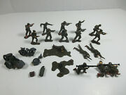 Vintage Lot Plastic Wwii Toy Soldiers With German Motorcycle Sidecar For Parts