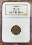 1909-s Lincoln Wheat Cent Ngc Ms61bnnice Coin