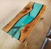 Green Resin Wooden Decorative Sofa Center Table Top Home And Kitchen Interior Deco