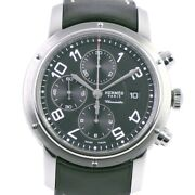 Hermes Cp1.910 Chronograph Clipper Watches Stainless Steel/leather Quartz ...