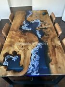 Blue Resin Acacia Wood Dining Center Table Top Handmade Furniture Royal Art Déco
