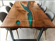 Green Resin Dining Office Meeting Table Top Wooden Handmade Decorative Interior
