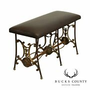 Antique Wrought Iron Leather Seat Bench