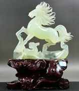 14 Chinese Natural Xiu Jade Jadeite Carved Running Horse Equine Son Sculpture