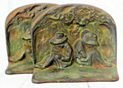 Antique Cast Iron Bookend Pair Girls Reading Books Free Ship